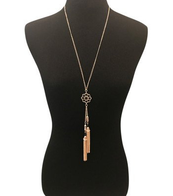 Long Gold Tassel Necklace with Black Flower