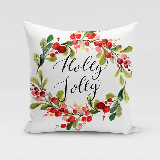 Holly Jolly Pillow Cover