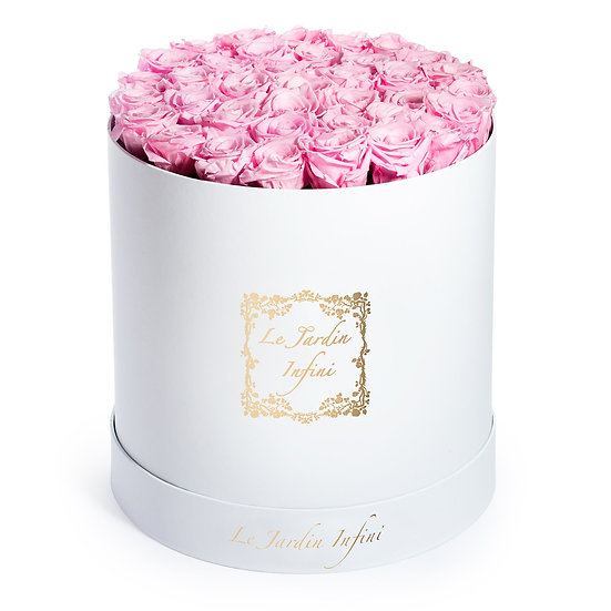 Soft Pink Preserved Roses - Large Round White Box
