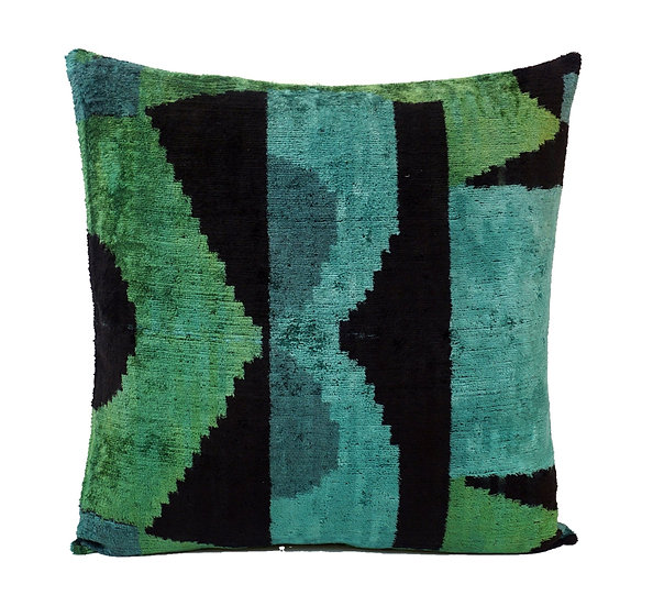 CHALET GREEN- IKAT SILK/VELVET PILLOW