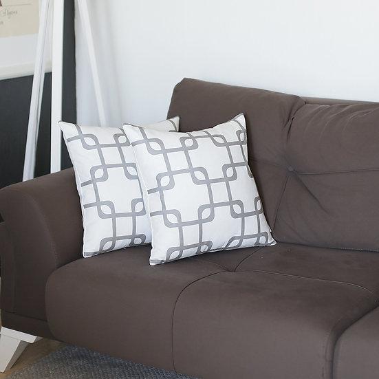 Geometric Gray Squares Square Throw Pillow Cover (Set of 2)