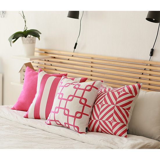 """Geometric Pink Stripes Square 18"""" Throw Pillow Cover"""