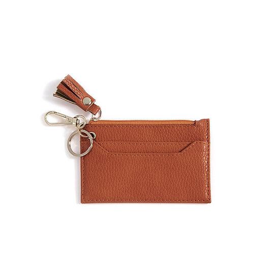 CECE CARD CASE WITH KEY CHAIN,ORANGE