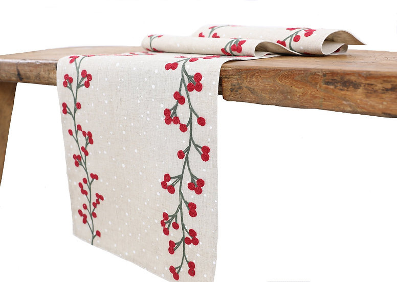 XD19816-Holly Berry Branch Crewel Embroidered Christmas Table Runner