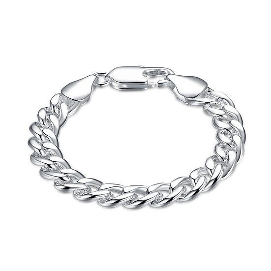 Curb 18K White Gold Plated Bracelet