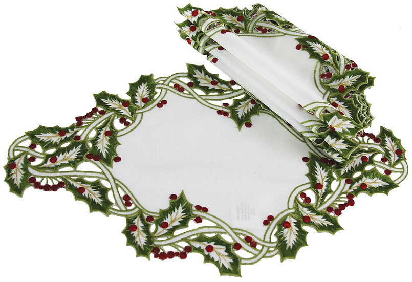 """XD14791 Holly Embroidered Placemats, 12""""x18"""", Set of 4"""