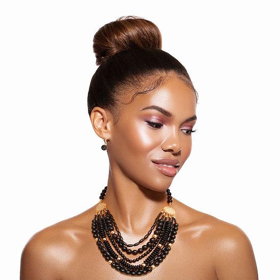 Black 6 Layered Bead Necklace