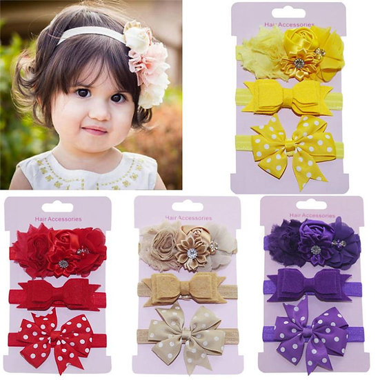 3Pcs Kids Elastic Floral Headband Set baby Girls