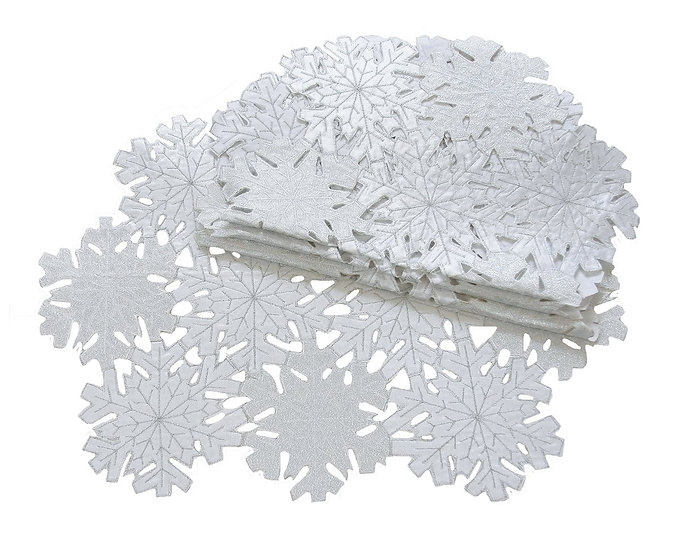 """XD10816 Shimmer Snowflake Placemats, 14""""x20"""", Set of 4"""