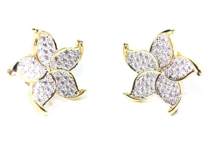 Five Petal Flower Stud Earrings