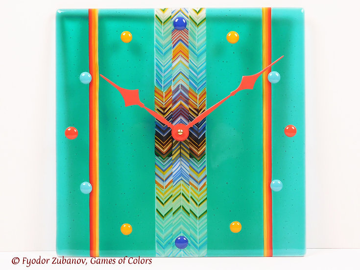 Fused glass wall clock Sweet Candies in Mint Juice