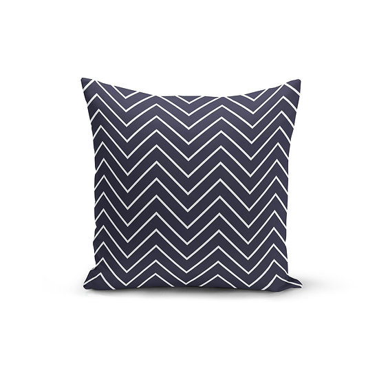 Navy White Zigzag Pillow Cover