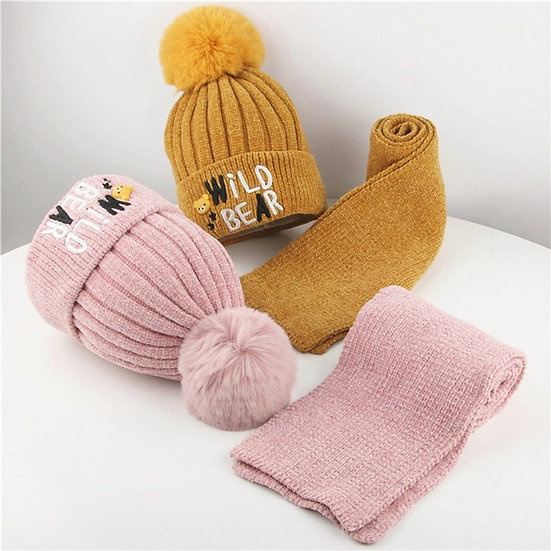2pcs Toddler Girl Boy Baby Hat +Scarf Set Winter