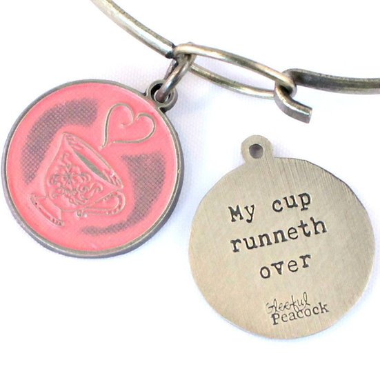 Runneth Over Token Charm Bracelet, Necklace, or Charm Only