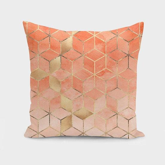 Soft Peach Gradient Cubes Cushion/Pillow