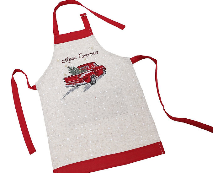 XD19812-Merry Christmas Truck Embroidered Apron Adults Size 30 by