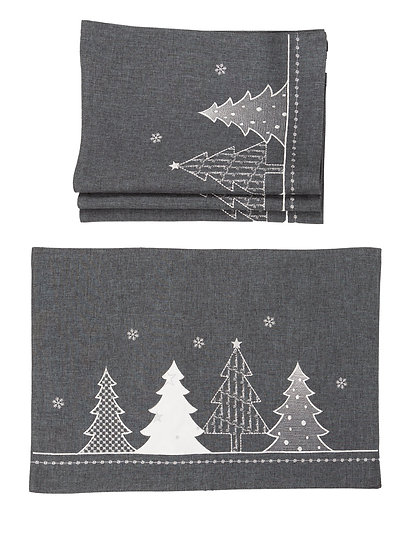 XD18902 Lovely Christmas Tree 14''x20'' Placemats, Set of 4