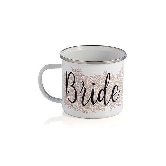 """BRIDE"" ENAMEL MUG,WHITE"