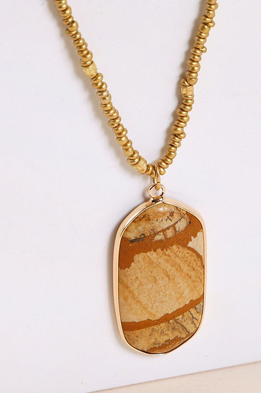 Natural Stones Pendant Layered Necklace