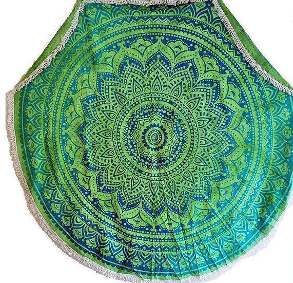 Rainforest Green Round Mandala Tapestry