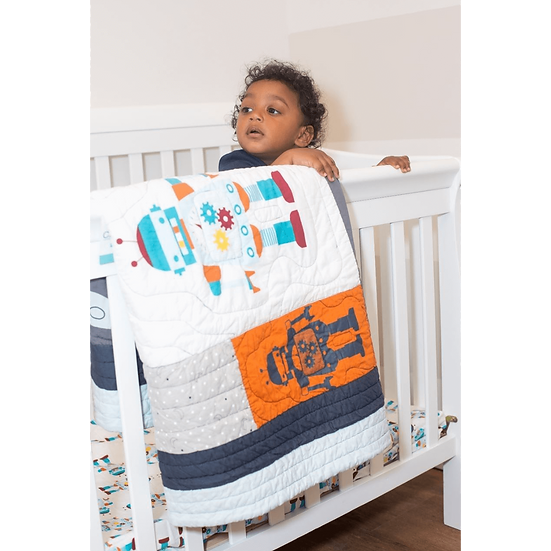 Robot Space 4Pc Crib + Toddler Quilt Set