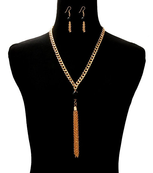 Tassel Ball Necklace Set