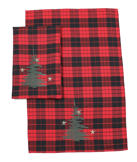 XD19886-Christmas Tree Decorative Tartan Towels 14 by 22-Inch, Set of