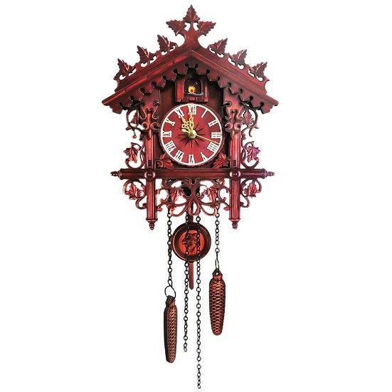 Vintage Wooden Cuckoo Clock Swinging Pendulum Wood