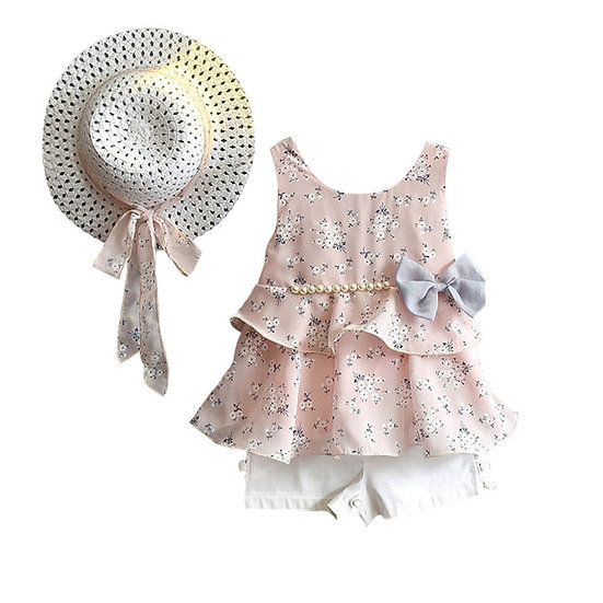 3PCS Toddler Baby Girl Summer Clothes Set Kid