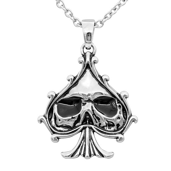 Skull Black Spade Necklace