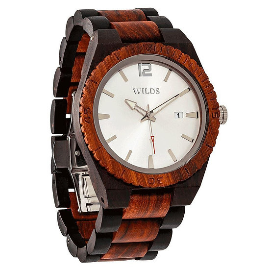 Men's Custom Engrave Ebony & Rose Wooden Watch - Personalize Your