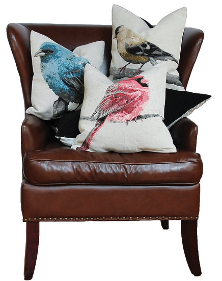 "ML14937 Bird Emboridery Pillow,18""x18"""