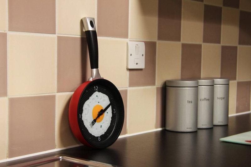 Frying Pan Fried Egg Shaped Wall Clock