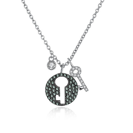 Key Sterling Silver Necklace with Swarovski Crystals