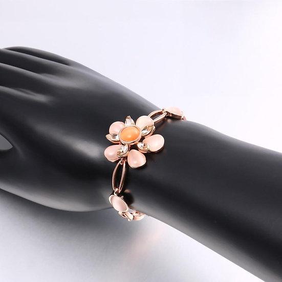 Épinay-sur-Seine 18K Rose Gold Plated Bracelet Made with Swarovski