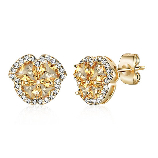 Pave Heart Stud Earring in 18K Gold Plated with Swarovski Crystals