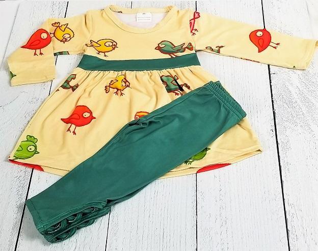 Chirpaderp Friendly Birds Dress w/Matching Crisscross Leggings
