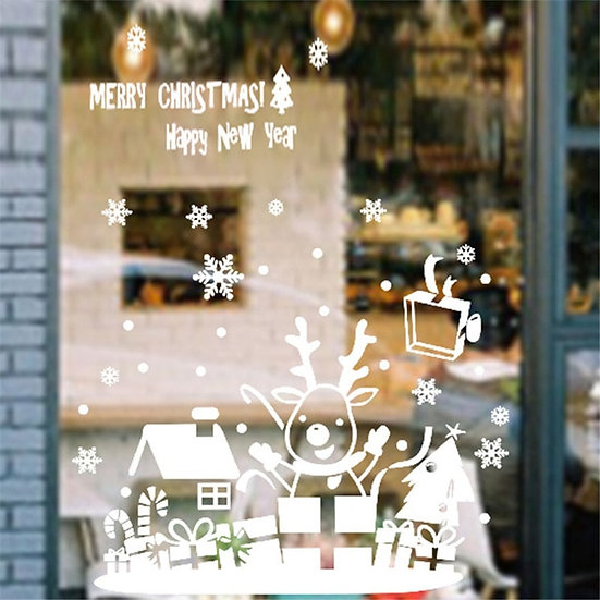 2019 Merry Christmas Window Stickers PVC Wallpaper
