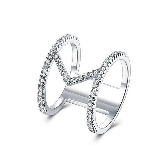 18K White Gold Plated Geometrical Abstract Ring made with Swarovski