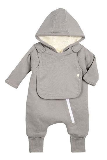 Smart Cuddly Jumpsuit + Bib - Gray