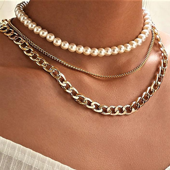 Pearl and Curb 3 Piece Layer 18K Gold Plated Necklace in 18K Gold
