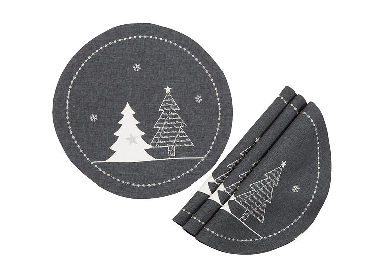 XD18902 Lovely Christmas Tree 16'' Placemats, Set of 4