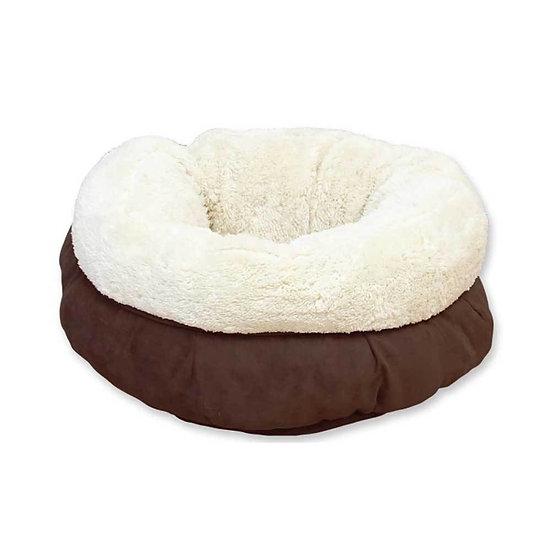 Soft Cat Bed Brown Suede   Warm Kitten Puppy Round Doughnut Donut