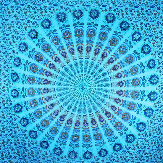 Henna Art Peacock Mandala Tapestry