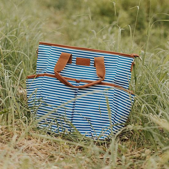 Blue Striped Canvas Diaper Bag