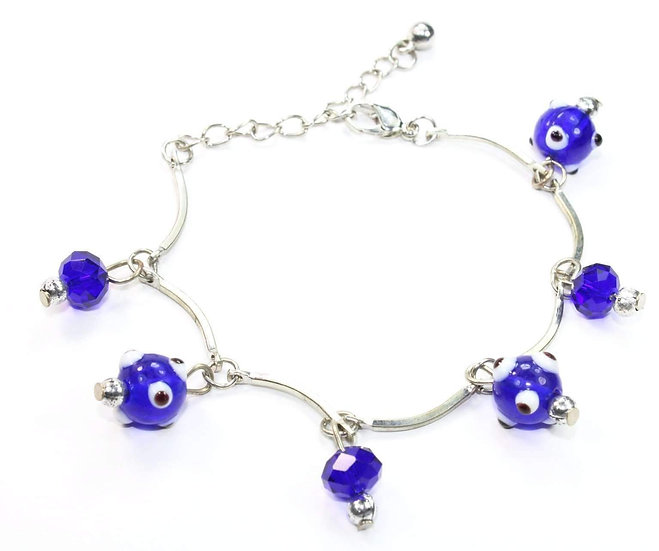 Evil Eye Beads & Blue Crystal Bracelet