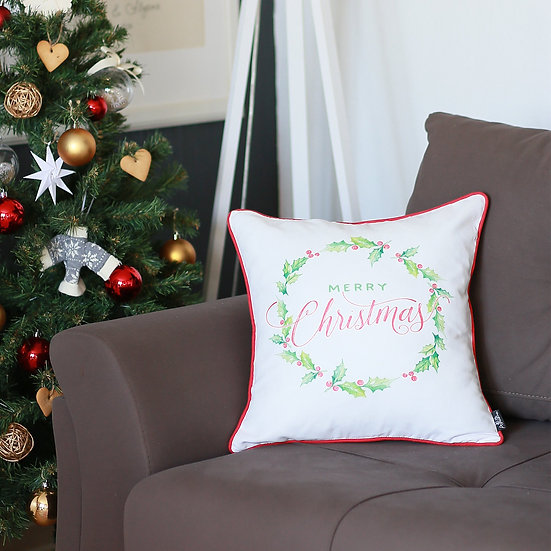 """Christmas Plants Square 18"""" Throw Pillow Cover"""