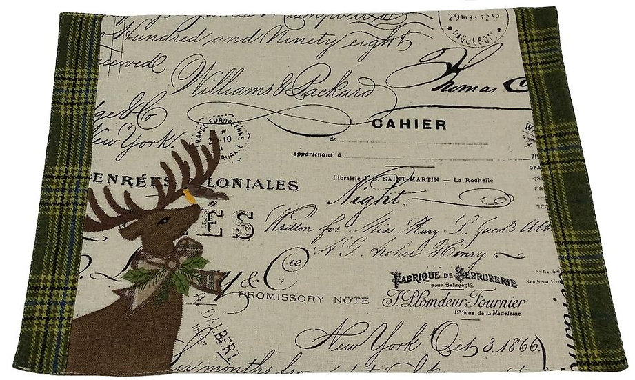 ML14898 Reindeer With Applique Suede Placemat, 13''x18''