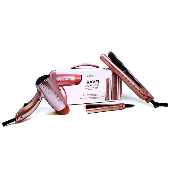 Bellezza Blush Pink Travel Blowout Kit With Mini Travel Dryer And Flat