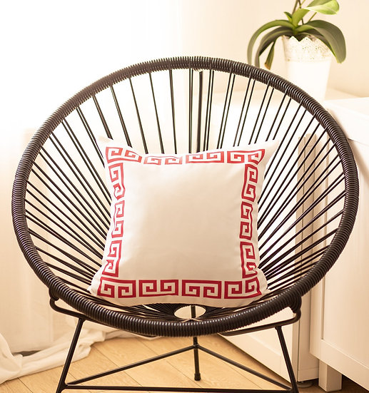 Geometric Greek Key White and Red Decorative Throw Pillow Cover